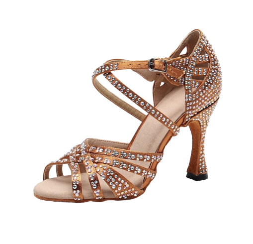 Chaussure danses marron strass